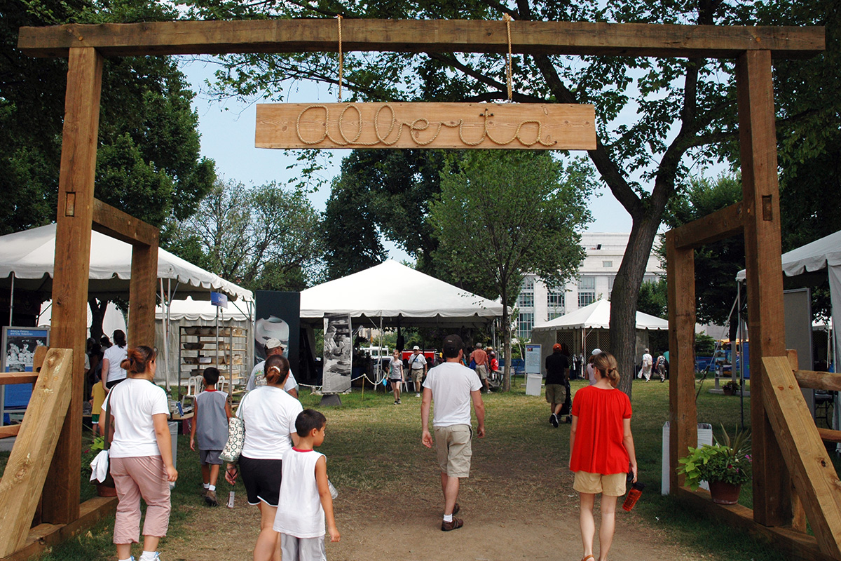 Entryway to the Alberta program at the 2006 Smithsonian Folklife Festival. Photo by Hugh Talman, Ralph Rinzler Folklife Archives