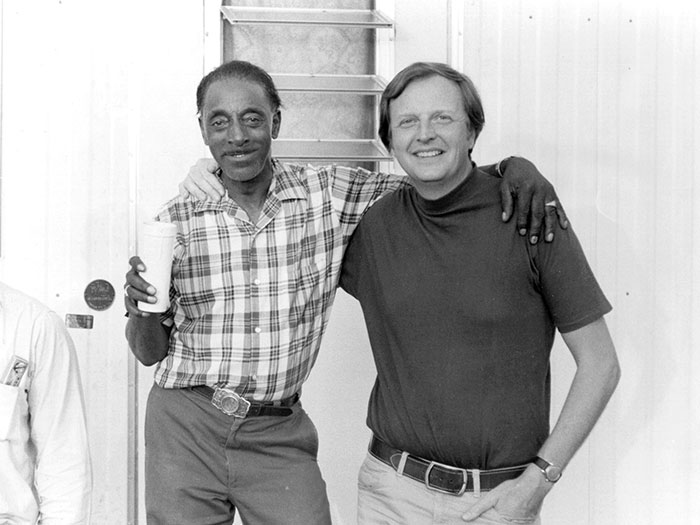 Chris Strachwitz of Arhoolie Records with Mississippi Fred McDowell in the late 1960s. Image courtesy Chris Strachwitz, all rights reserved.
