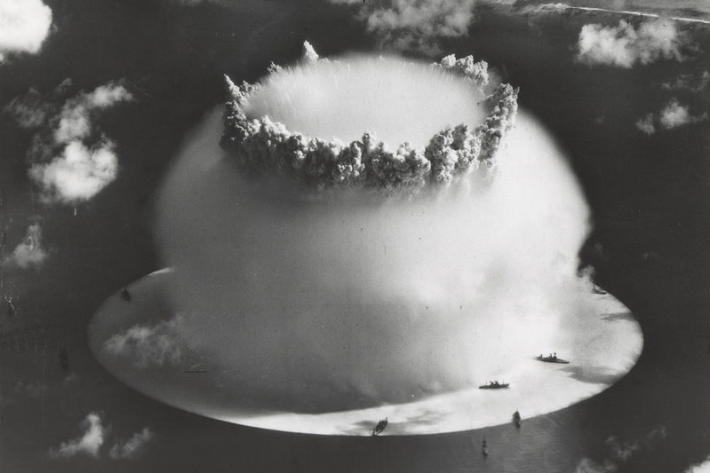 Bikini Atoll in the South Pacific was the scene of two atomic bomb tests—Crossroads Able and Crossroads Baker. Shown here is Crossroads Baker, which created the distinctive mushroom-shaped cloud on July 25, 1946. Photo courtesy Wikimedia Commons