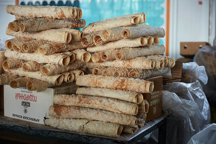 Lavash for sale at GUM Market in Yerevan, Armenia. Photo by John Lee