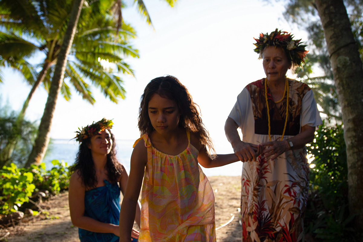 Vai looks on at her daughter Mata, filmed in Kuki Airani, one of seven Pacific Nations featured in Vai (2019). Photo courtesy of MPI Media
