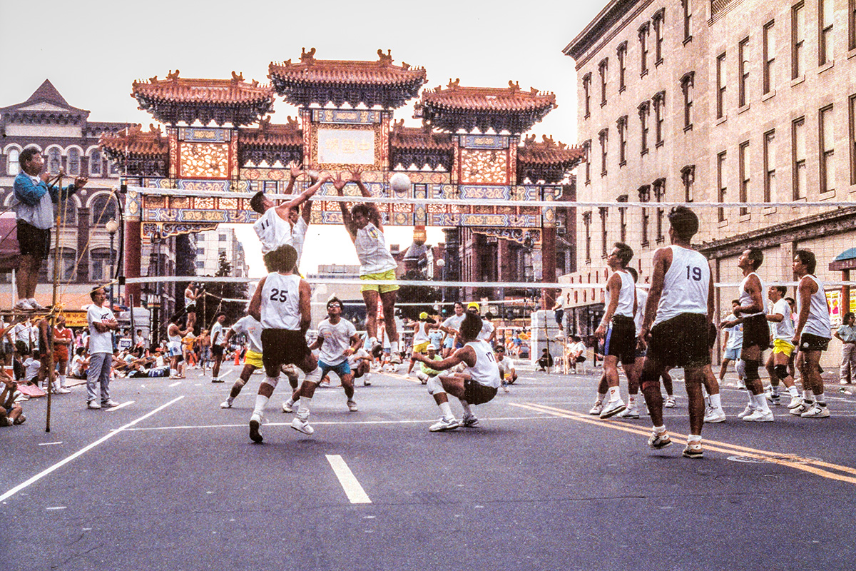 A 9-man volleyball competition with the Chinese Youth Club of Washington, D.C., on H Street NW. Photo courtesy of Penny Lee and the Chinese Youth Club Archives