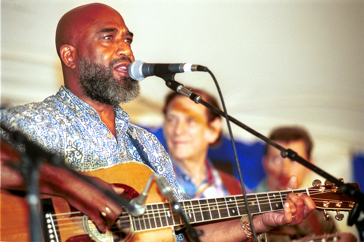 Josh White Jr. performs at the 2001 Smithsonian Folklife Festival. Photo by Harold Dorwin, Ralph Rinzler Folklife Archives