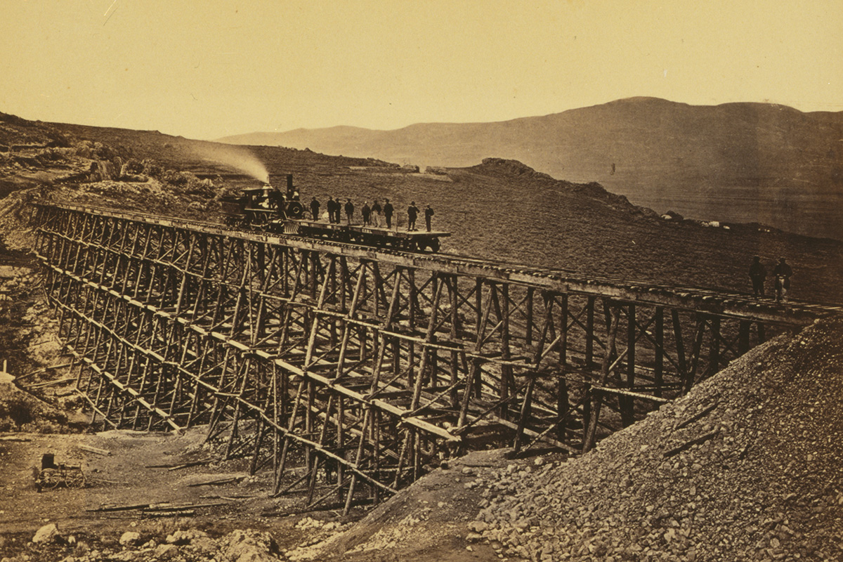 This photo by Andrew Russell, who was hired by the Union to document construction from Wyoming to Utah territory, was taken in Promontory Point, Utah, 1869. Photo courtesy of Library of Congress Prints and Photographs Division Washington, D.C. Illus. in F594 .H41