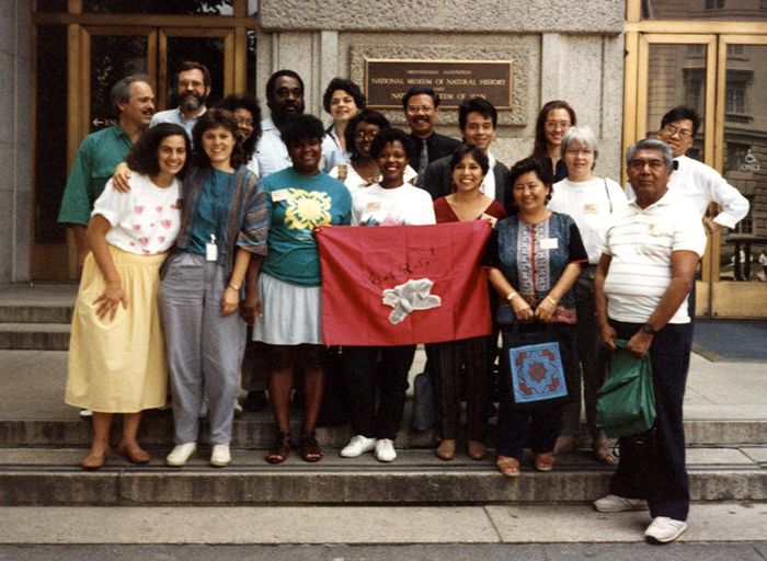 "The 1989 Folklore Summer Institute ""Flat Rats"" in front of the National Museum of Natural History."