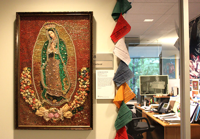 <i> La Virgen de Guadalupe </i> outside of curator Olivia Cadaval's office. Photo by Elisa Hough