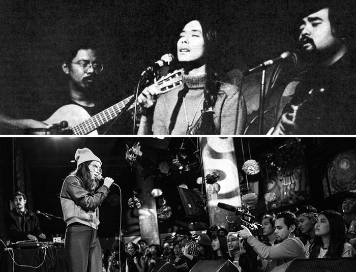 "Generations of Asian American musicians. Top: ""Charlie"" Chin, Nobuko Miyamoto, and Chris Iijima from <i>A Grain of Sand</i> (1973) album liner notes. Photo by Bob Hsiang, Ralph Rinzler Folklife Archives. Bottom: Awkwafina in New York City, February 2015. Photo by Andy Koh, courtesy of oogeewoogee.com"