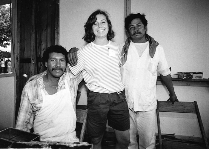 Jen Page with two wood carvers from New Mexico at the 1992 Folklife Festival. Photo courtesy of Jen Page