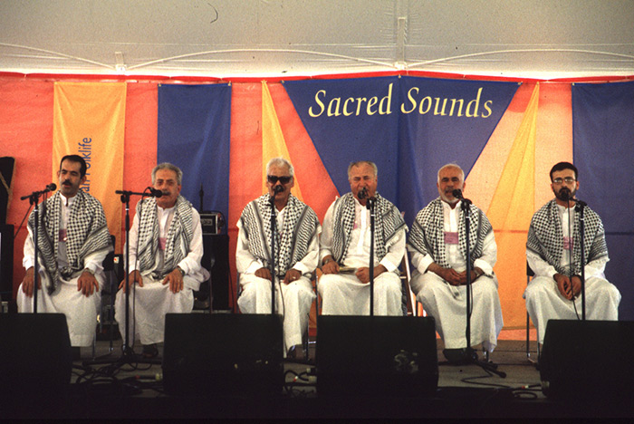 "Muslim sheiks from Jerusalem's Old City demonstrate Koranic recitation at the 1998 Folklife Festival's ""Sacred Sounds"" program. Ralph Rinzler Folklife Archives"