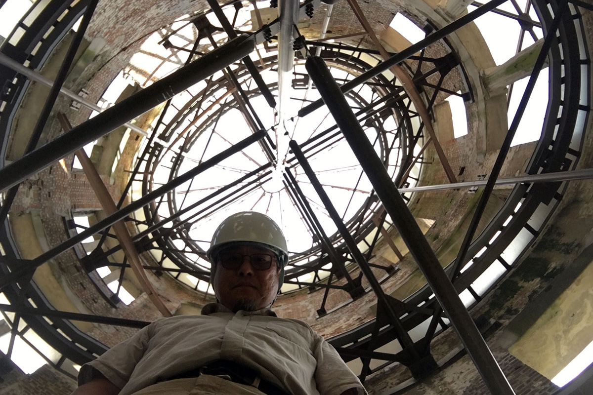 Alan Nakagawa inside the Atomic Bomb Dome in Hiroshima, Japan. <br>