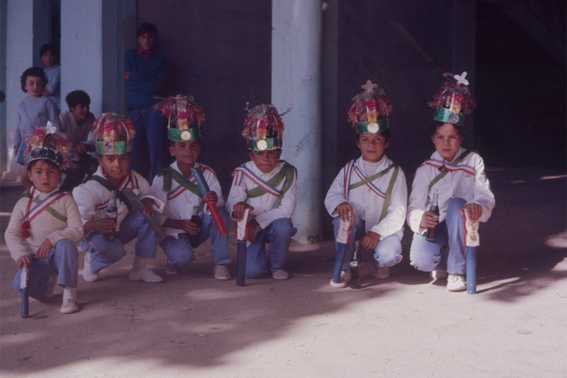 Chinos dancers with flutes in Chile, 1973. Photo by Daniel Sheehy