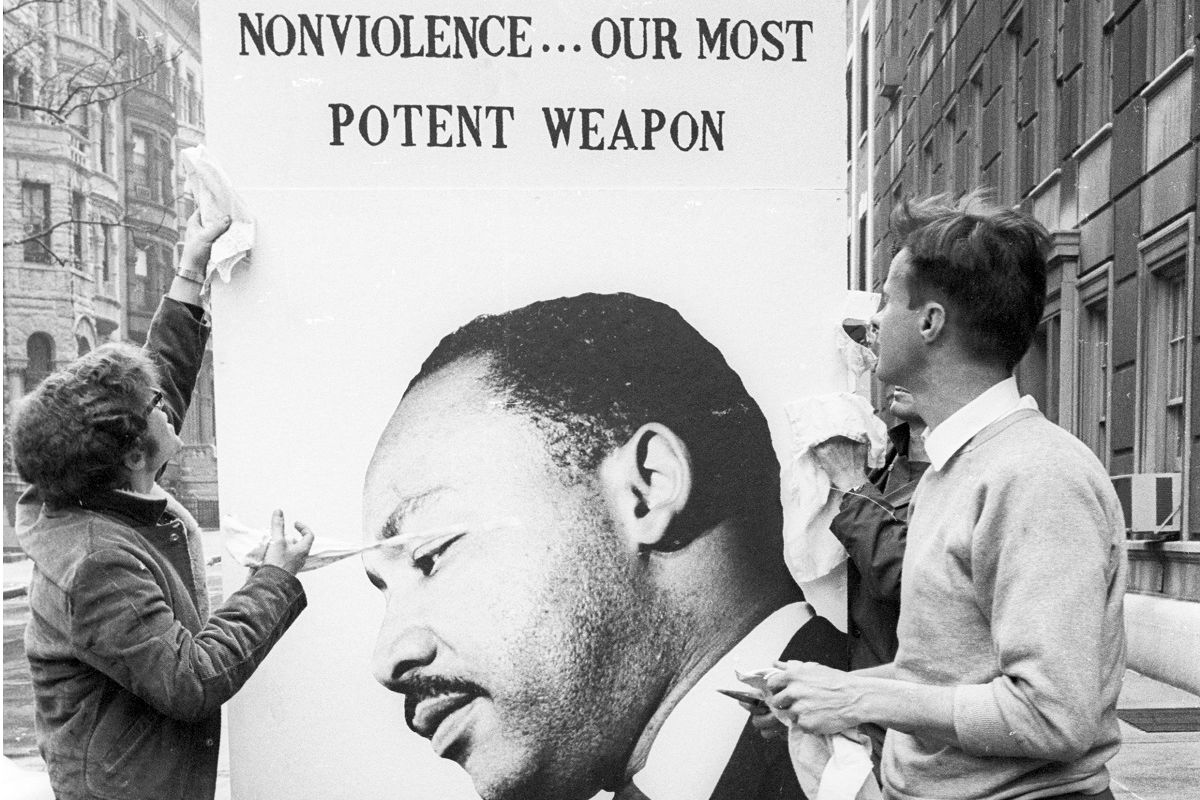 Peace marchers with a placard of Martin Luther King, New York City, April 27, 1968. Photo by Diana Davies, Ralph Rinzler Folklife Archives