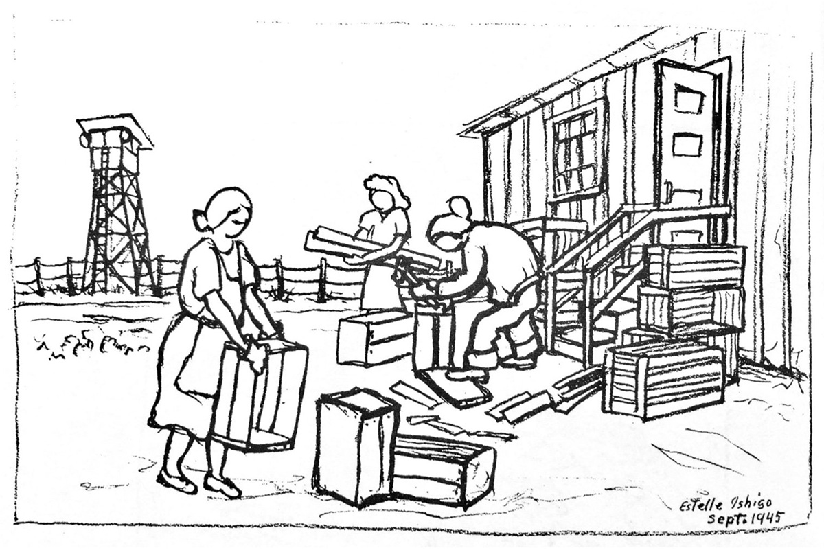 Making crates to leave the camp, September 1945, Heart Mountain, Wyoming. Illustration by Estelle Ishigo, courtesy Estelle Ishigo Collection, Heart Mountain Wyoming Foundation. Gift of Bacon Sakatani in Memory of Arthur and Estelle Ishigo