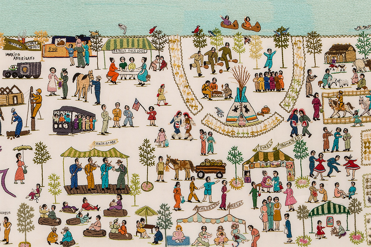 "Portion of the ""Bicentennial Site Embroidery"" by Ethel Wright Mohamed for the 1976 Smithsonian Folklife Festival. Photo by Zvonimir Bebek, Ralph Rinzler Folklife Archives"