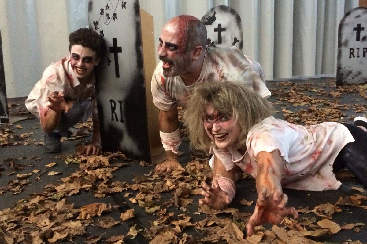 Zombies along the Night of Fear route in St. Esteve d'en Bas. From left to right: Sergi Heras, Isaac Bonifacio, and Alexandra Riera. Photo courtesy of Mum's
