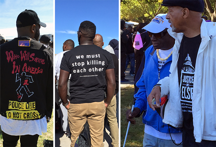 Expressions through T-shirt graphics at the Million Man March anniversary. Photos by Diana N'Diaye