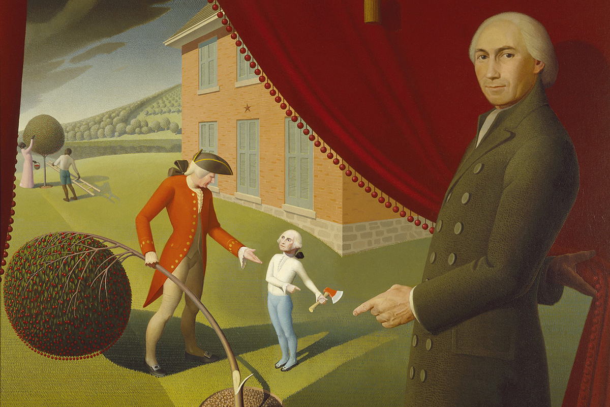 """Parson Weems' Fable,"" depicting Parson Weems and his famous story of George Washington and the cherry tree. Painting by Grant Wood, Wikimedia Commons"