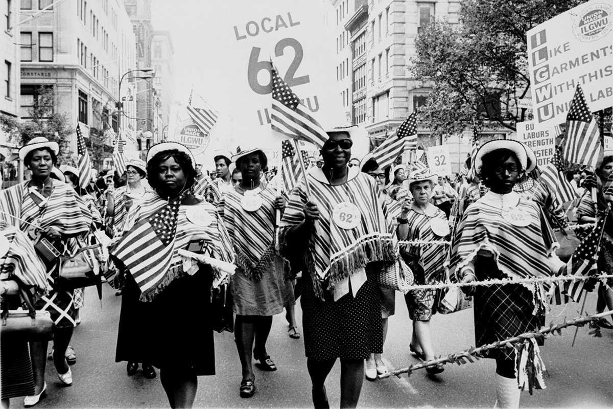 Members of the International Ladies Garment Workers Union march in a Labor Day parade. Photo courtesy of the Kheel Center for Labor-Management Documentation and Archives, Cornell University
