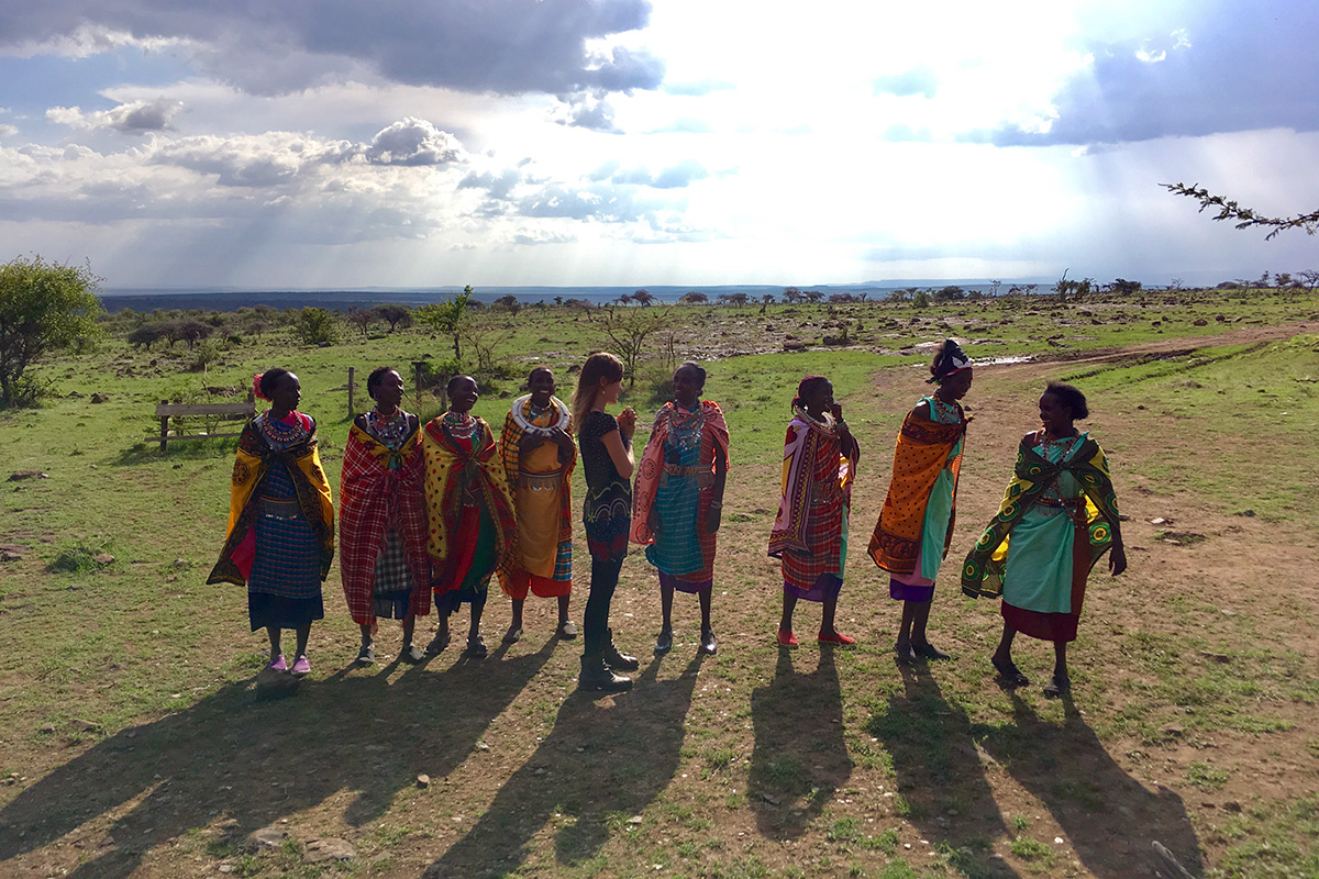 A group of Maasai beadworkers sing their goodbyes to Maa Trust staff member Lorna, who worked there for several years. Photo by Anne Pedersen