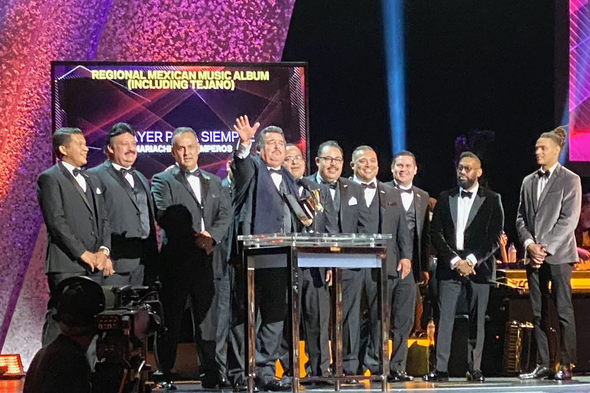 Mariachi Los Camperos accept the award for Best Regional Mexican Album at the GRAMMY Awards on January 26, 2020. Photo courtesy of the artists