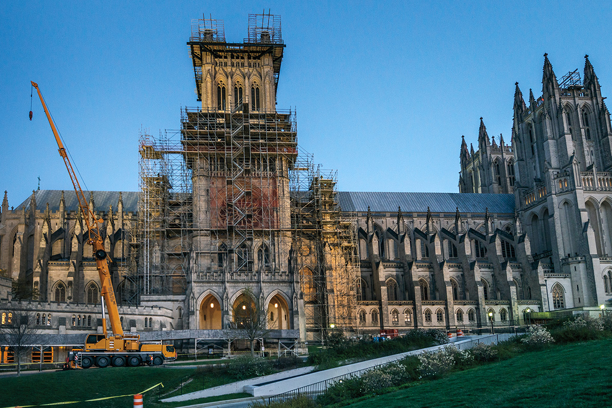 The Washington National Cathedral shrouded in scaffolding post-earthquake. Photo by Colin Winterbottom, courtesy of Washington National Cathedral