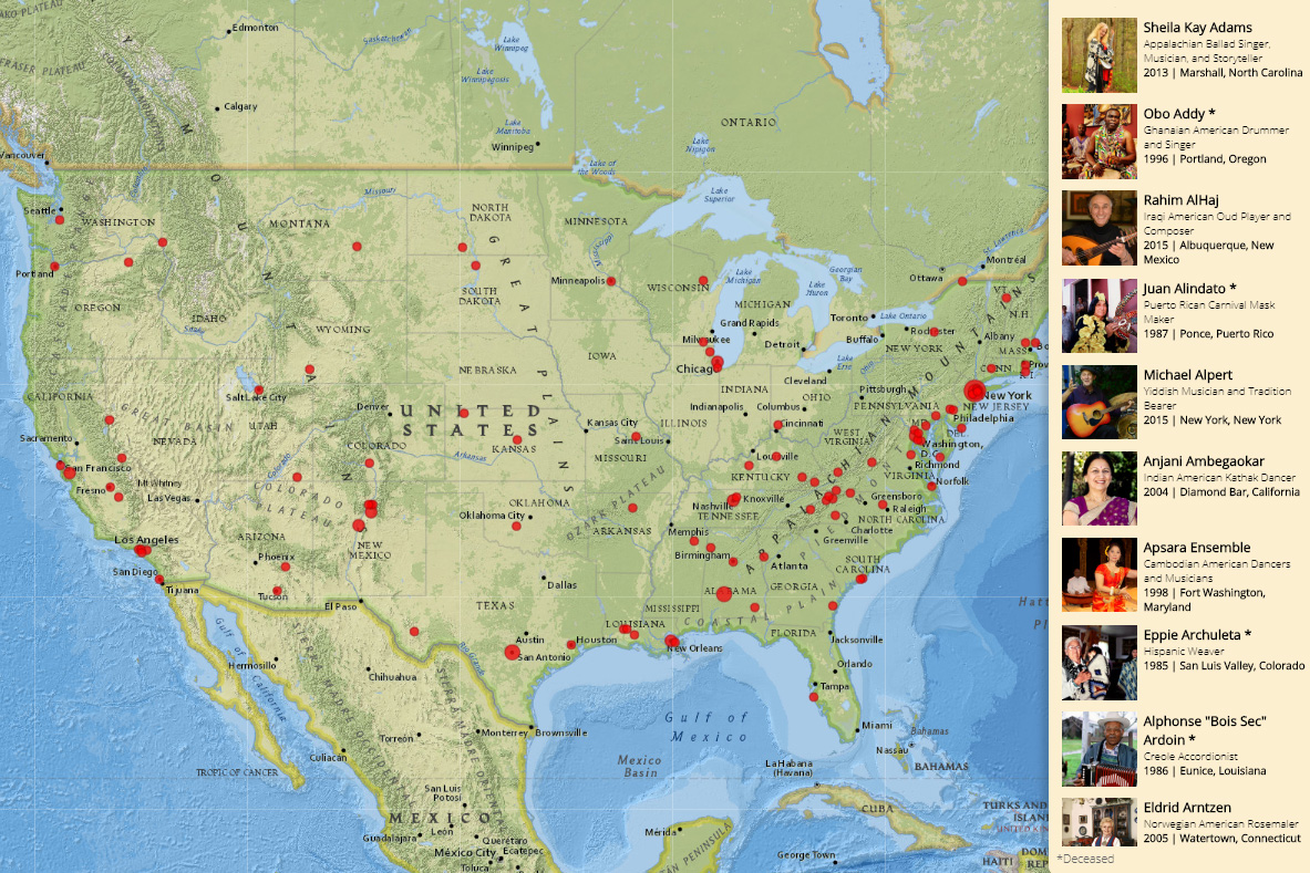 Masters of Tradition: A Cultural Journey Across America. Map by Esri