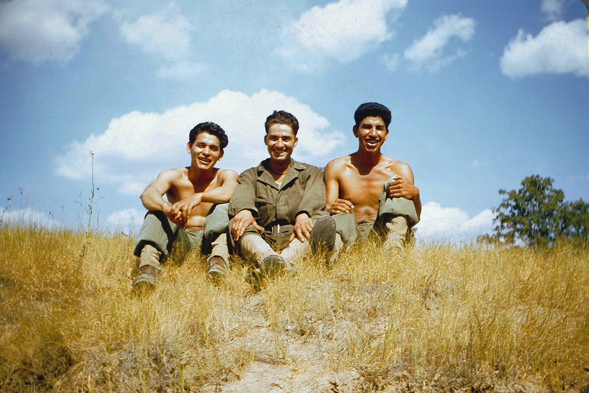 Cruz Rios (left) and Gilbert Rodriguez (right) on a break at Camp Swift, Texas, 1944. Photo courtesy of Val Rios