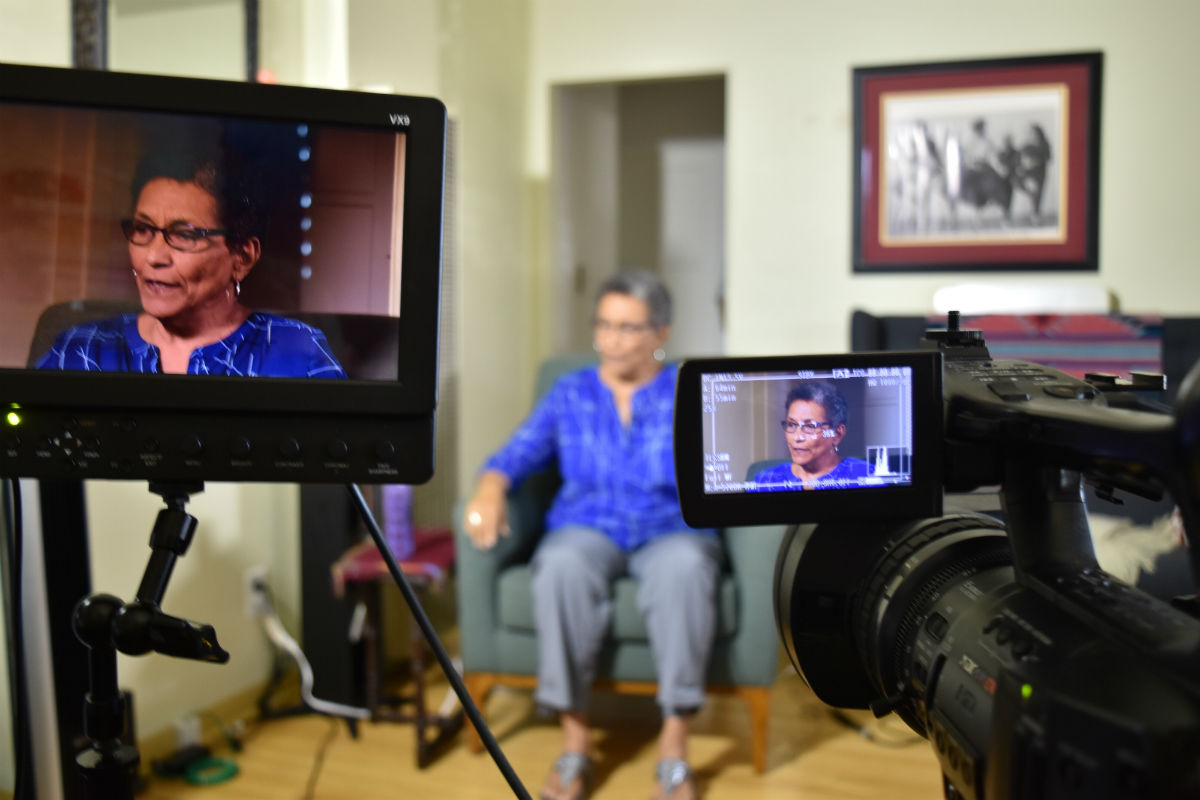 Roberta Alexander, professor and former Black Panther, is captured in the camera viewfinder during her interview for the CRHP. Photo by Guha Shankar, Library of Congress