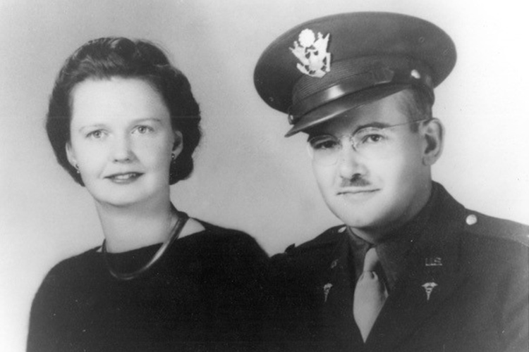 It was customary for soldiers going off to war to get a photo taken in uniform with his family, in this case his bride. In this studio portrait of Durwood and Sue, there is no hint of the apprehension of his pending departure into the war zone of World War II. Photo courtesy of Charleen Smith-Riedel
