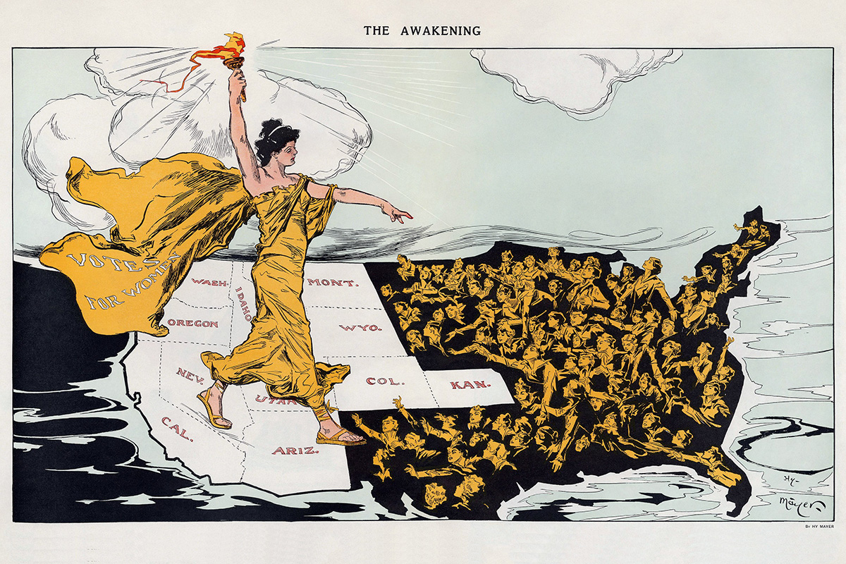 This illustration shows Lady Liberty over the states that had adopted suffrage, in white. Illustration by Henry Mayer, Puck Magazine