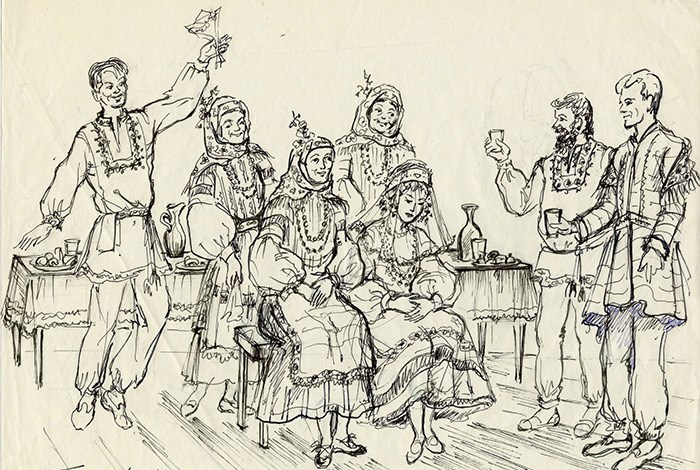 Four women and three men celebrate with a toast. Drawing by Lily Spandorf, Ralph Rinzler Folklife Archives