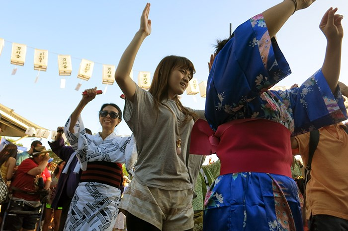 <i> Bon odori </i> at the Higashi Honganji Buddhist Temple in Los Angeles, 2014. Photo by Sojin Kim