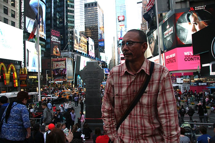 Tibetan filmmaker Shide Nyima in New York City. Photo by Sonam Wanggyal.