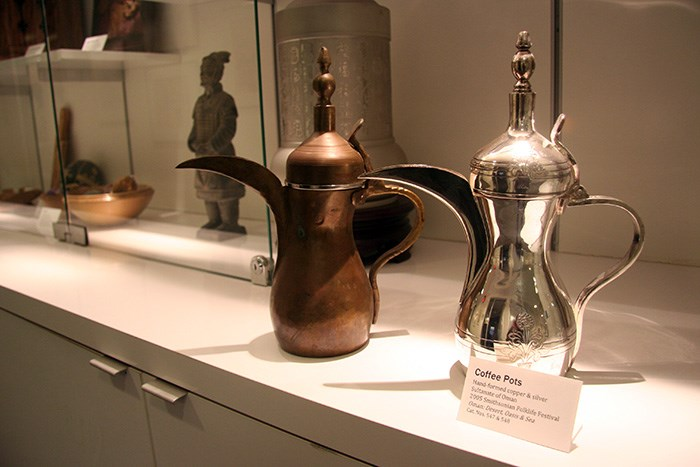 The Omani coffee pots on display in the Center for Folklife and Cultural Heritage. Photo by Elisa Hough