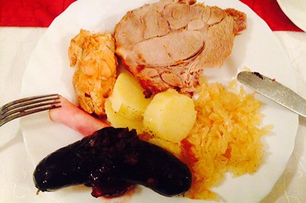 A traditional Estonian Christmas meal, with blood sausage at the bottom. Photo courtesy Kadi Levo