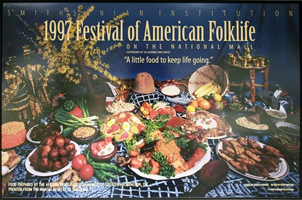 The poster from the 1997 Smithsonian Folklife Festival (then known as Festival of American Folklife) that hangs in the office kitchen. Photo by Elisa Hough