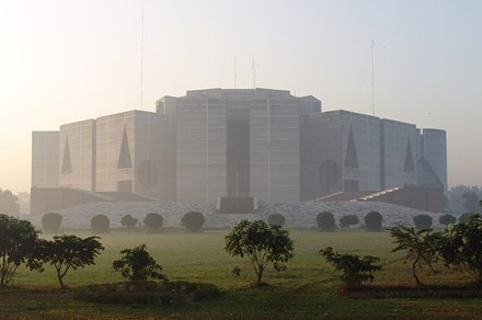 The Jatiyo Sangsad Bhaban in Bangladesh is considered architect Louis Kahn's magnum opus. Photo courtesy Wikimedia Commons