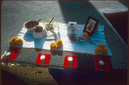 Day of the Dead altar at the municipal cemetery in Juarez, Mexico. Photo by by Miguel Gandert
