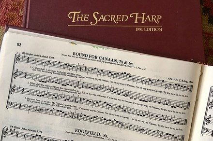 Sacred Harp songbook cover and text