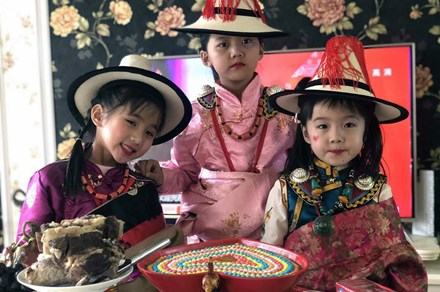 Tibetan children in traditional dress for Losar celebrations