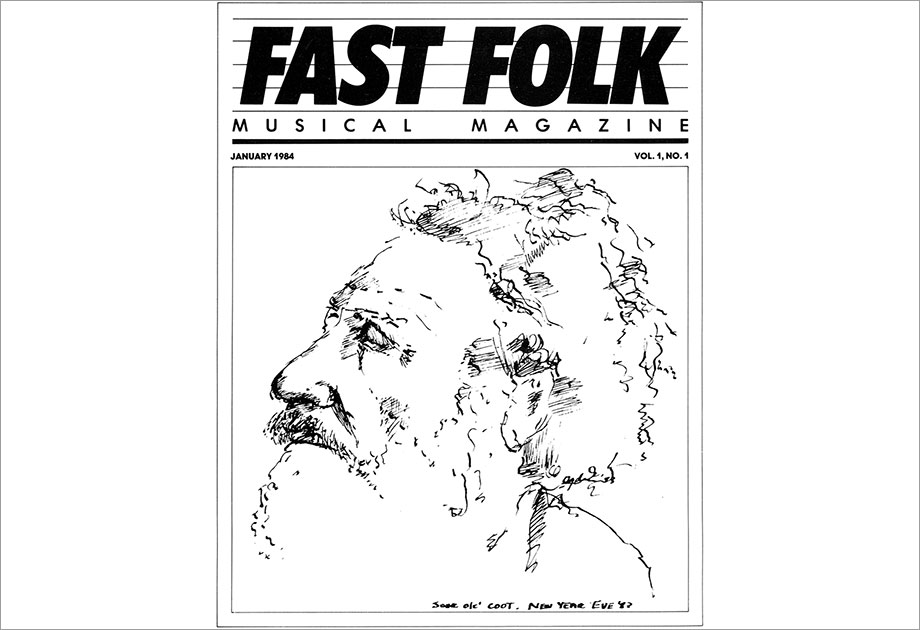 Cover of Fast Folk Musical Magazine (Vol. 1, No. 1). Courtesy of the Ralph Rinzler Folklife Archives and Collections.