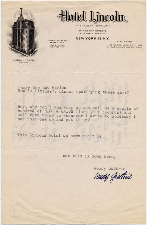 Original letter, undated, from Woody Guthrie to Moses (Moe) Asch and Marion Distler