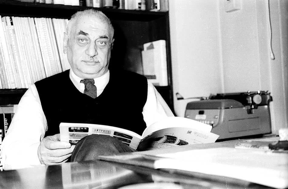 Folkways Records founder Moses Asch in his office. Photo by Diana Davies, Ralph Rinzler Folklife Archives
