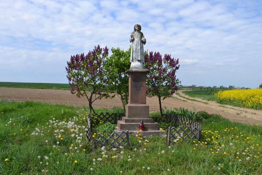 A statue shrine next to a dirt road, surrounded by green grass and wildflowers.
