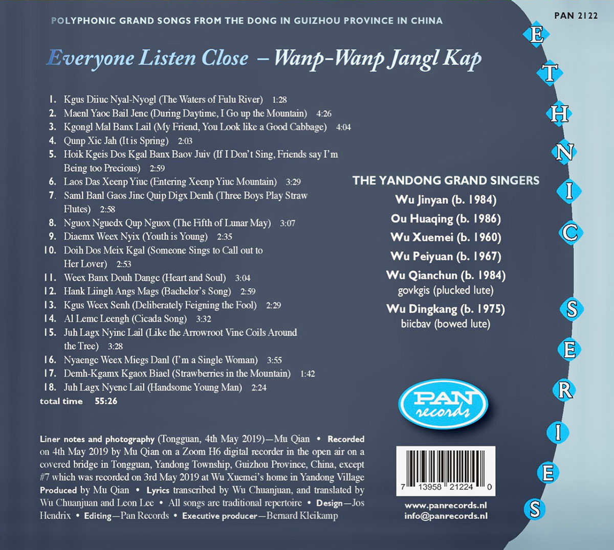 CD back cover with track listing.