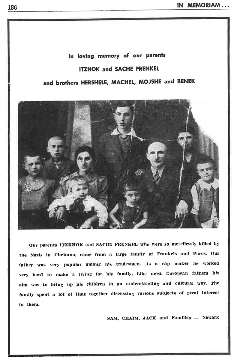 "Scan of a page from the book, showing a black-and-white family photo and ""In loving memory of our parents ITZHOK and SACHE FRENKEL."