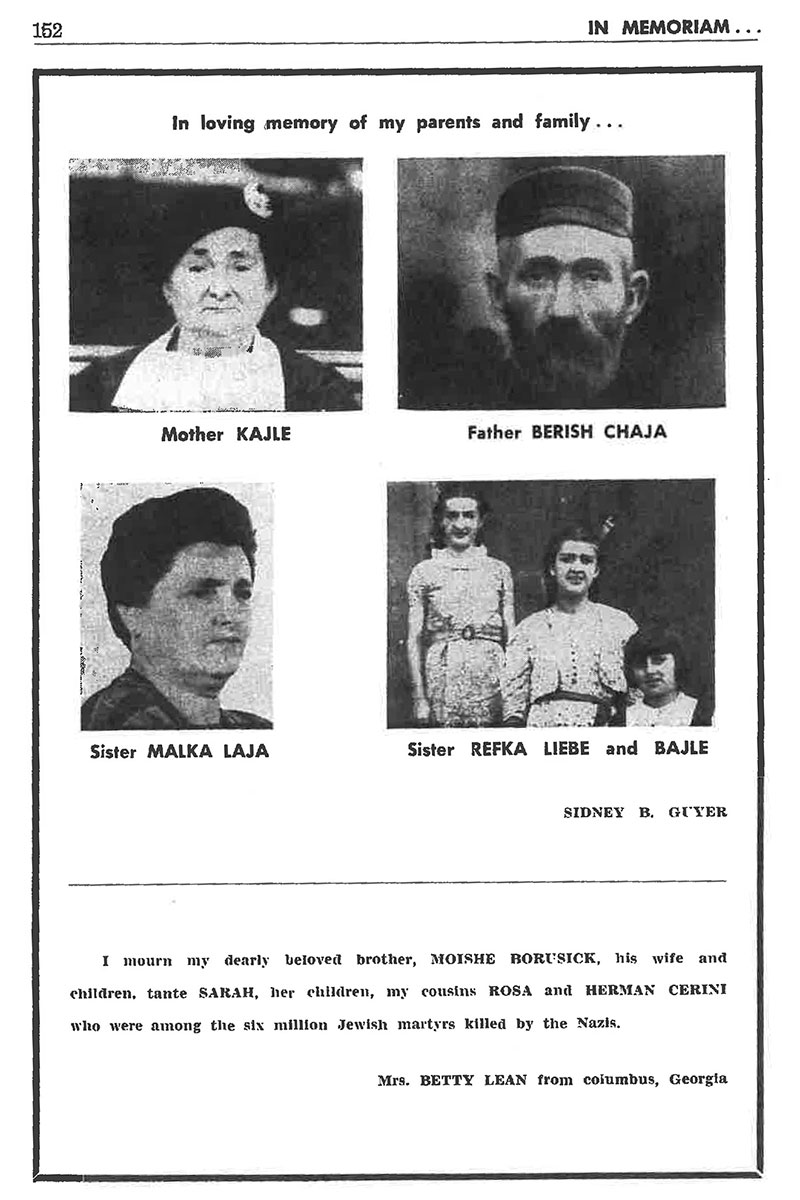 "Scan of a page from the book, with four portrait photos and ""In loving memory of my parents and family..."""