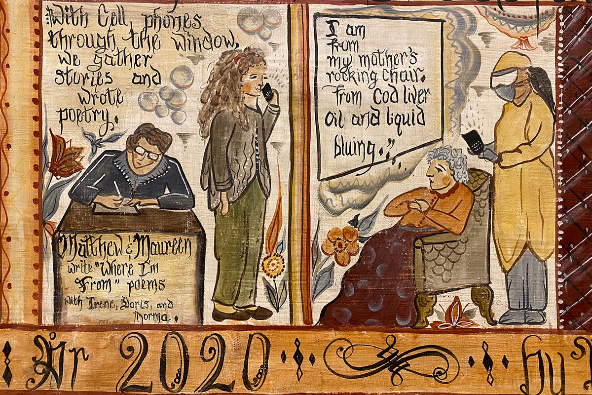 "Detail from the painting, depicting Matthew & Maureen. Script reads: ""With cell phones through the window, we gather stories and wrote poetry."" A speech bubble above an elder woman reads: ""I am from my mother's rocking chair. From cod live oil and liquid bluing..."""