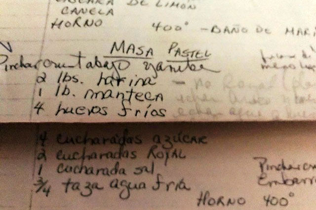 Hand-written recipe for MASA PASTEL, written in Spanish on lined paper.