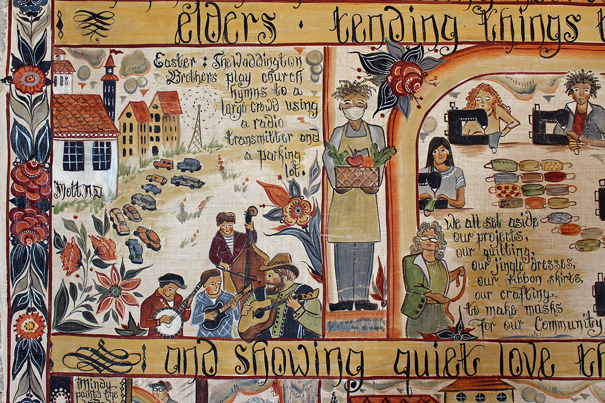 Detail from the painting, depicting the Waddington Brothers. Scripts reads: Easter: The Waddington Brothers play church hymns to a large crowd using a radio transmitter and a parking lot.